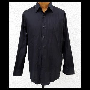 DKNY Black Slim Fit Button Front Shirt